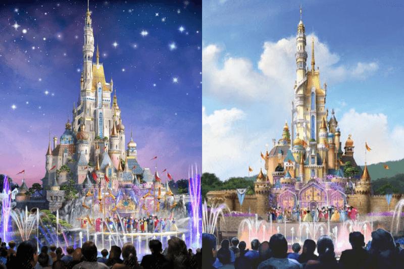 Hong Kong Disneyland Castle Transformation Concept Art Comparison