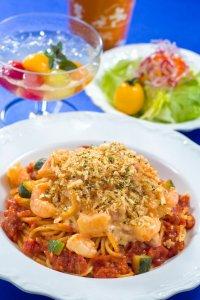 Shrimp, Zucchini & Tomato Cream Sauce Spaghetti