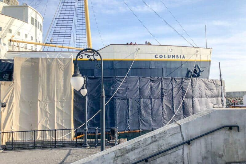SS Columbia Dockside Stage Construction Front Ship