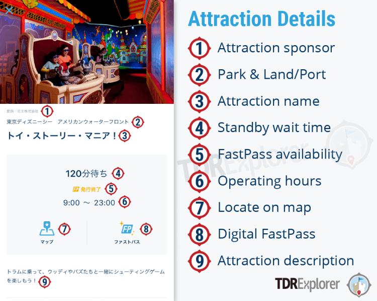 Tokyo Disney Resort App Attraction Details