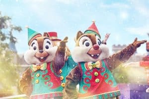 Chip and Dale in their Christmas outfits