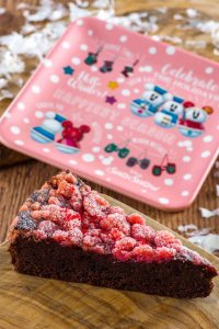 Chocolate and Raspberry Crumble Cake with Souvenir Plate