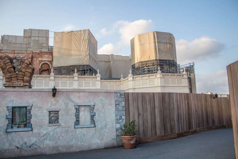 Tokyo DisneySea Soaring Fantastic Flight Construction Facade Further Down