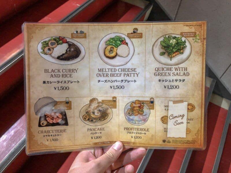Food Menu Harry Potter Cafe Tokyo