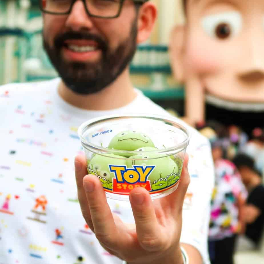 All-You-Can-Eat Green Alien Mochi at Tokyo Disneyland