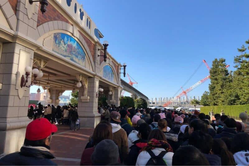 New Year's Day Security Line Tokyo Disneyland