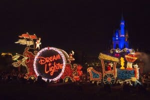 Mickey and Minnie in their Dream Lights outfits