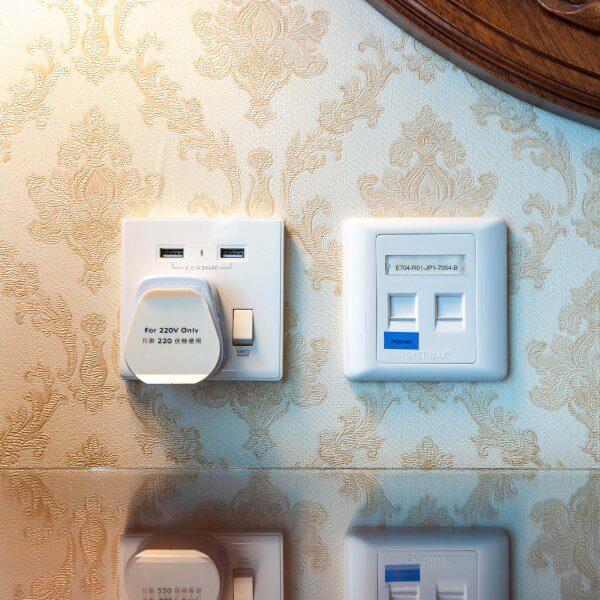 Wall Outlets with USB at Hong Kong Disneyland Hotel