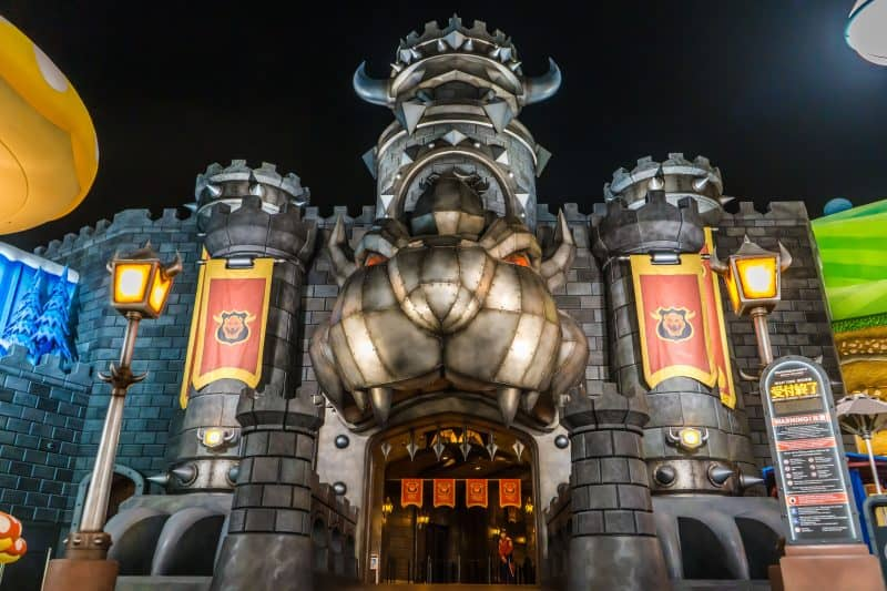 Bowser's Castle at Night in Super Nintendo World