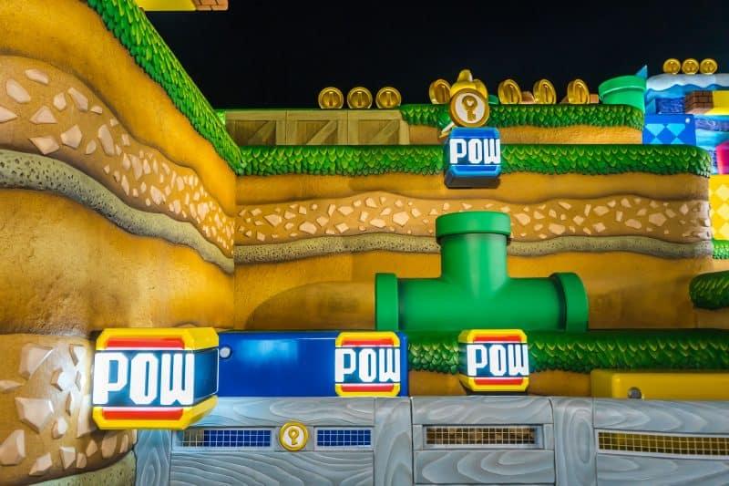 Super Nintendo World Area at Night